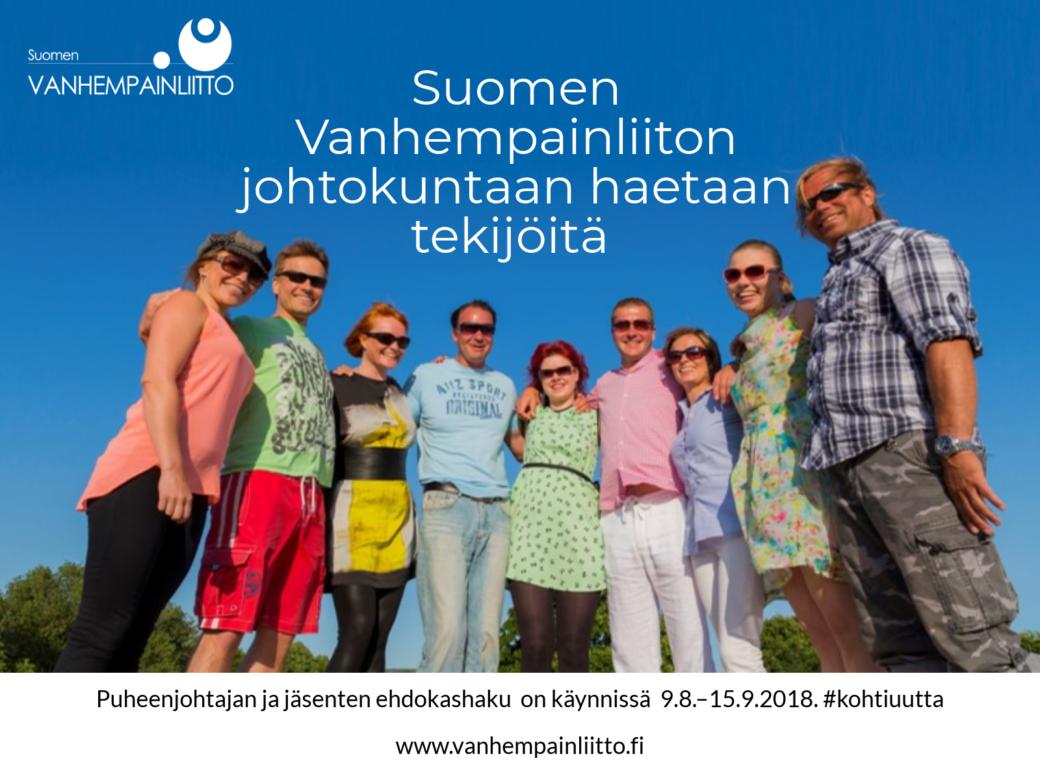 Suomen vanhempainliiton johtokuntaan haetaan tekijöitä