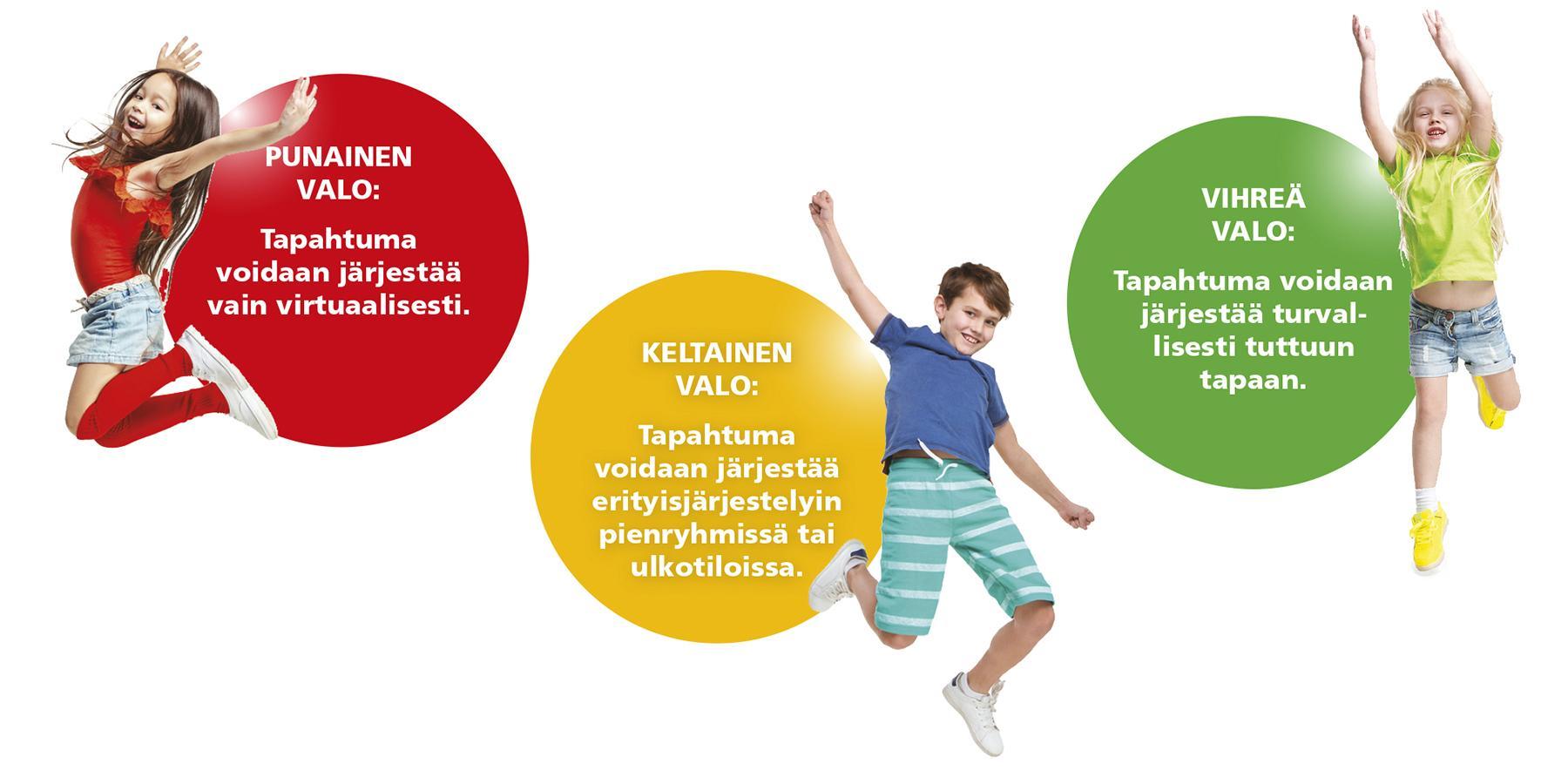 Kodin ja Koulun Päivän liikennevalomalli: Punainen valo = tapahtuma voidaan järjestää vain virtuaalisesti. Keltainen valo = kokoontumisia on rajoitettu, mutta tapahtuma voidaan järjestää erityisjärjestelyin pienryhmissä tai ulkotiloissa. Vihreä valo = vanhemmat voidaan kutsua koululle ja tapahtuma voidaan järjestää turvallisesti tuttuun tapaan.